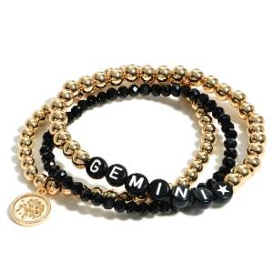"Set of Three Zodiac Themed Beaded Stretch Bracelets.   - Approximately 3"" in Diameter"