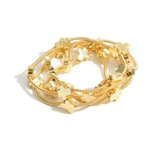 "Set of Five Gold Wire Cross Bracelets.   - Approximately 3"" in Diameter"