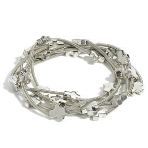 """Set of Five Silver Wire Cross Bracelets.   - Approximately 3"""" in Diameter"""