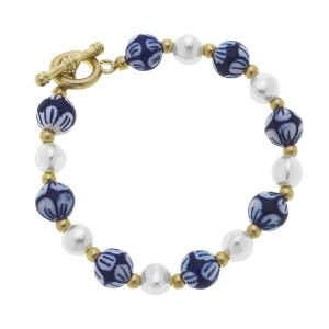 """Chinoiserie Beaded Bracelet Featuring Pearl Accents.  - Approximately 2.5"""" in Diameter - Toggle Bar Closure"""