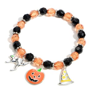 """Beaded Charm Bracelet Featuring Halloween Themed Charms.   - Approximately 2.5"""" in Diameter"""