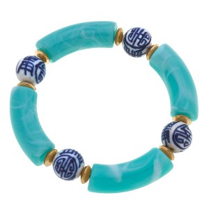 """Resin Bracelet Featuring Chinoiserie Beads.   - Approximately 3"""" in Diameter"""