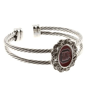 Officially licensed South Carolina inspired silver tone double wired cuff bracelet featuring logo in center.