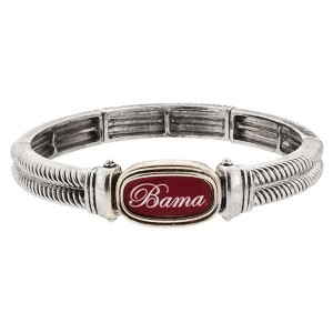 Officially licensed University of ALabama silver tone stretch bracelet with Bama in script on top of the school colors.
