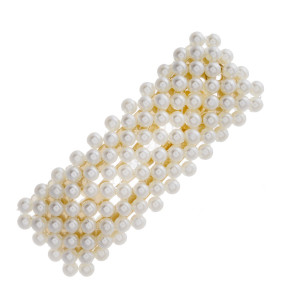 """Gold hair clip featuring pearl beaded details. Approximately 2.25"""" in length."""
