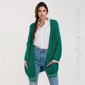 "Do everything in Love Brand Varsity Confetti Knit Cardigan Featuring Pockets.  - One size fits most 0-14 - Approximately 25"" in length - 73% Acrylic, 14% Nylon, 10% Wool, 3% Spandex"