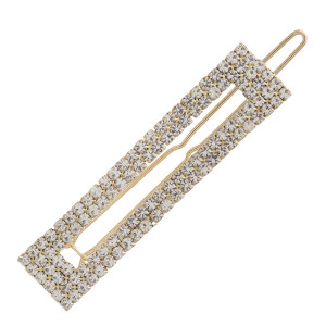 """Open rectangle cubic zirconia hair barrette. Approximately 2.5"""" in length."""