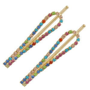 """Multicolor cubic zirconia open loop hair pin set. Features two hair pins. Approximately 2.5"""" in length."""