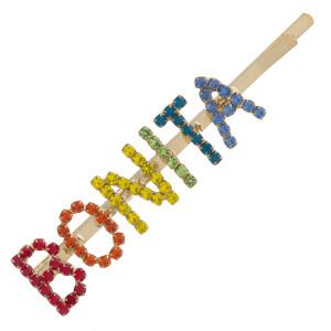 "Multicolor cubic zirconia ""Bonita"" script hair pin. Approximately 2.75"" in length."