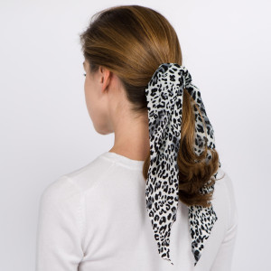 """Long leopard print hair scarf scrunchie.   - One size - Approximately 13"""" L - 100% Polyester"""