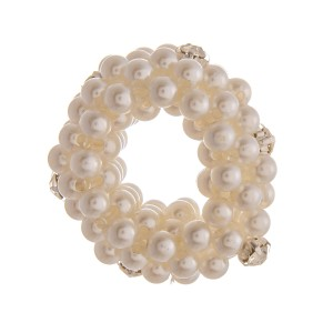 """Medium size pearl beaded rhinestone stretch rope scrunchie ponytail hair accessory. Approximately 1.5"""" in diameter."""
