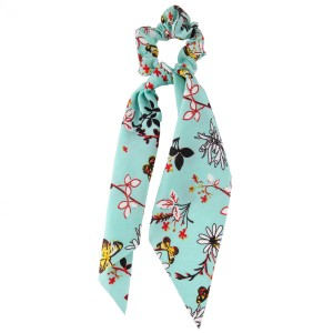 """Butterfly floral hair scarf scrunchie.  - One size  - Approximately 12"""" in length - 100% Polyester"""