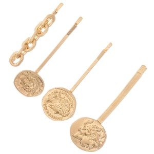 "Curb Link Coin Hair Pin Set in Worn Gold.  - 4pcs/set - Approximately 2"" L"