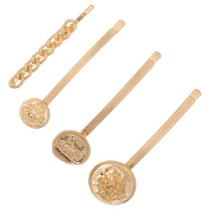 "Ancient Greek Coin Hair Pin Set in Worn Gold.  - 4pcs/set - Approximately 2"" L"