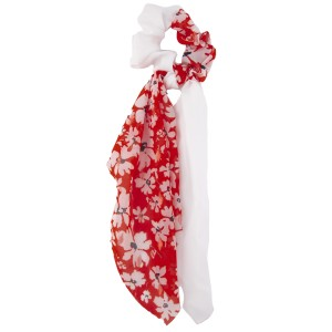 """Half and Half Sheer Floral Print Hair Scarf Scrunchie.  - One size fits most - Approximately 12"""" L - 100% Polyester"""