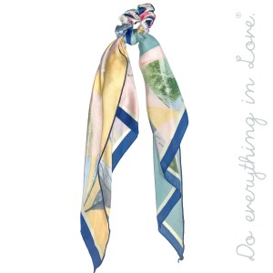 """Do everything in Love Brand Silky Multicolor Geometric Print Hair Scarf.  - One size - Approximately 18"""" L  - 100% Polyester"""