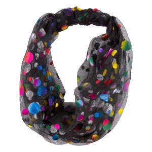 Black Mesh Fabric Headband Featuring Metallic Polka Dots.  - One size fits most - 100% Polyester