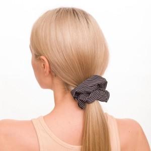 Ladies Pinstripe Hair Scrunchie.  - 100% Polyester