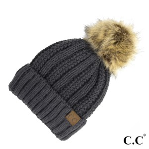 C.C YJ-820  Fuzzy Lined Knit Faux Fur Pom Beanie.  - One size fits most - 100% Acrylic