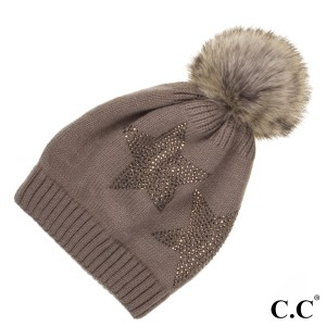 C.C HAT-501  Rhinestone Star Print Faux Fur Pom Beanie.  - One size fits most - 100% Acrylic
