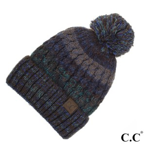 C.C HAT-18156 Chunky ribbed chenille beanie  - 100% Chenille - One size fits most