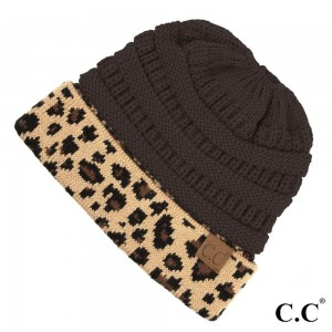 C.C MB-45  Solid color messy bun beanie with leopard print cuff  - 100% Acrylic - One size fits most