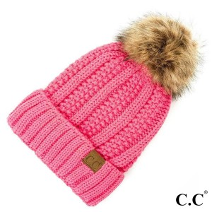 C.C YJ-820  Fuzzy lined beanie with faux fur pom  - 100% Acrylic - One size fits most