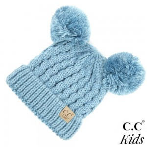C.C KID-24  Kids Solid Cable Knit Double Pom Beanie  - One size fits most Kids - 100% Acrylic