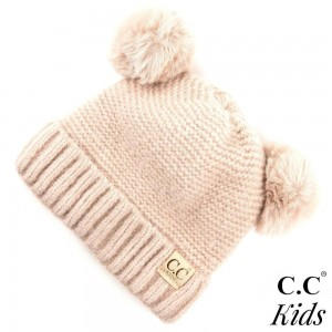 "C.C KIDS-27 Kids Ribbed Knit Solid Double Pom Beanie  - 70% Polyester, 30% Nylon - Band circumference is approximately:  14"" unstretched  18"" stretched - Approximately 6.5"" long from crown to band"