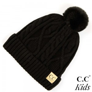"C.C KIDS-28 Solid color cable knit kids beanie with faux fur pom and lining inside  - 50% Viscose, 30% Polyester, 20% Acrylic - Band circumference is approximately:  14"" unstretched  18"" stretched - Approximately 7.5"" long from crown to band - Fit varies based on child's head height and shape"