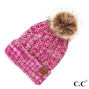 C.C YJ-820 MIX  Chunky Knit Fuzzy Lined Faux Fur Pom Beanie.  - 100% Acrylic - One size fits most