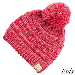 "C.C YJ-816KIDS POM Four tone ribbed knit beanie with pom for kids  - 100% Acrylic - Band circumference is approximately:  11"" unstretched  18"" stretched - Approximately 7"" long from crown to band - Fit varies based on child's head height and shape"