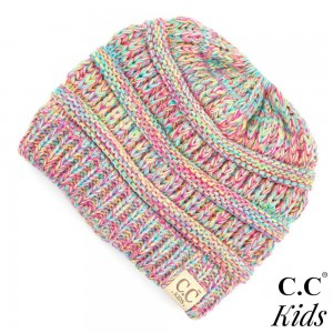 "C.C MB-816KIDS Multicolor messy bun beanie for kids  - 100% Acrylic - Band circumference is approximately:  13"" unstretched  18"" stretched - Approximately 7"" long from crown to band - Fit varies based on child's head height and shape"