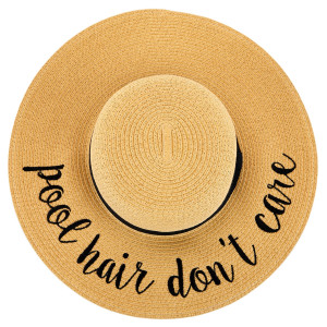"""C.C ST-2017 (Natural) """"Pool Hair Don't Care"""" paper straw wide brim sun hat with ribbon  - One size fits most - Inside adjustable drawstring - Brim width 4.5"""" - 100% Paper"""
