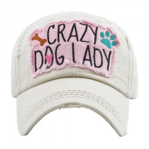 Crazy dog lady embroidered, vintage style ball cap with washed-look details. - 100% cotton - Adjustable back strap - One size fits most