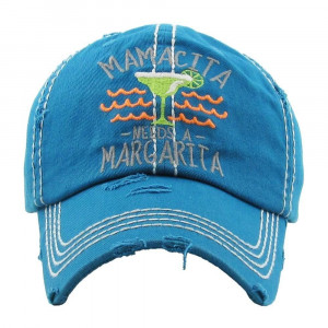 """Mamacita Needs a Margarita"" Embroidered Distressed Vintage Style Baseball Cap.  - One size fits most - Adjustable Velcro Closure - 100% Cotton"