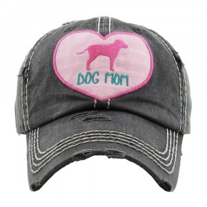 "Heart Embroidered ""Dog Mom"" Distressed Vintage Style Baseball Cap.  - One size fits most - Adjustable Velcro Closure - 100% Cotton"