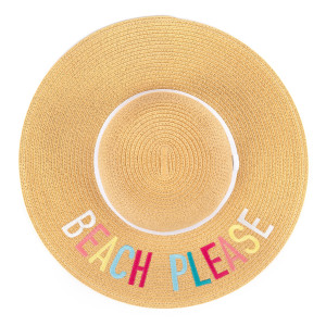 """C.C ST-2017 (Natural)(Multi) """"Beach Please"""" paper straw wide brim sun hat with ribbon  - One size fits most - Inside adjustable drawstring - Brim width 4.5"""" - 100% Paper"""