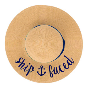"""C.C ST-2017 (Natural)(Navy) """"Ship Faced"""" paper straw wide brim sun hat with ribbon  - One size fits most - Inside adjustable drawstring - Brim width 4.5"""" - 100% Paper"""