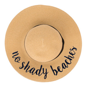"""C.C ST-2017 (Natural) """"No Shady Beaches"""" paper straw wide brim sun hat with ribbon  - One size fits most - Inside adjustable drawstring - Brim width 4.5"""" - 100% Paper"""