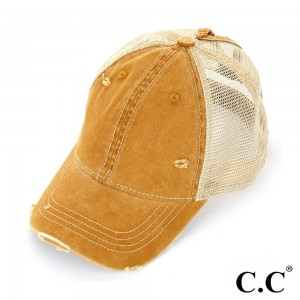 C.C BT-12  Vintage Distressed Baseball Cap with Mesh Back  - One size fits most - Adjustable Velcro Closure - 70% Cotton / 30% Polyester