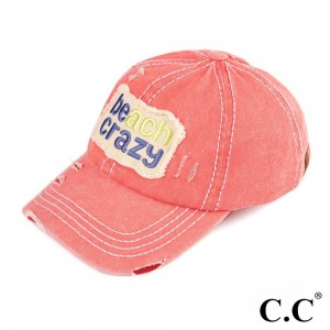 C.C BT-761  Beach Crazy Vintage Baseball Cap   - One size fits most - Adjustable Velcro Closure - 100% Cotton
