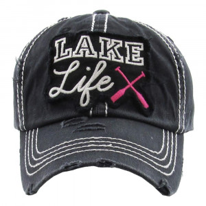 """""""Like Life"""" Embroidered Distressed Vintage Style Baseball Cap.  - One size fits most  - Adjustable Velcro Closure - 100% Cotton"""