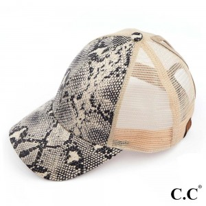 C.C BT-2410 Snakeskin Trucker Cap with Mesh Back  - One size fits most - Adjustable velcro closure - 70% PU / 30% Polyester