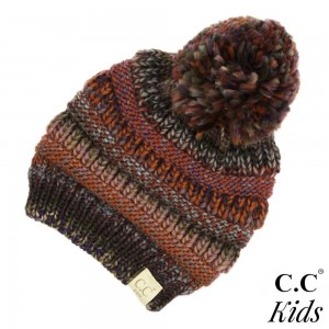 "C.C KIDS-705 POM Multicolor kids pom beanie  - 100% Acrylic - Band circumference is approximately:  14"" unstretched  18"" stretched - Approximately 6.5"" long from crown to band - Fit varies based on child's head height and shape"