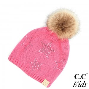 C.C KIDS-501 Faux fur pom kids beanie with rhinestone stars pattern  - 100% Acrylic - One size fits most Kids