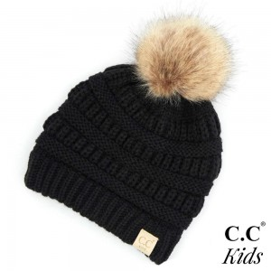 "C.C KIDS-43 Kids Ribbed Knit Faux Fur Pom Beanie  - 100% Acrylic - Band circumference is approximately:  14"" unstretched  18"" stretched - Approximately 7"" long from crown to band"