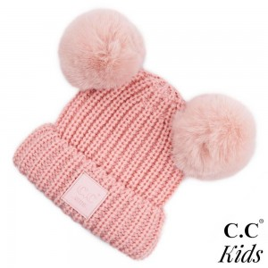 "C.C KIDS-81 Double faux fur pom beanie for kids  - 70% Polyester, 30% Nylon - Band circumference is approximately:  11"" unstretched  16"" stretched - Approximately 7.5"" long from crown to band - Fit varies based on child's head height and shape"