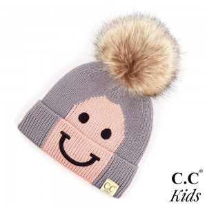 "C.C KIDS-2296 Kids Smiley Face Knit Pom Beanie  - 100% Acrylic - Band circumference is approximately:  14"" unstretched  18"" stretched - Approximately 6.5"" long from crown to band"