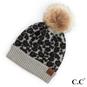 C.C HAT-2315 Leopard Print Pom Beanie.  - One size fits most - 50% Viscose, 30% Nylon, 20% Acrylic